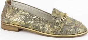 Złote półbuty Venezia w stylu casual ze skóry