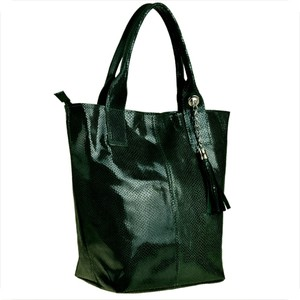 Zielona torebka Borse in Pelle duża w wakacyjnym stylu ze skóry