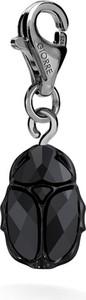 GIORRE SREBRNY CHARMS SKARABEUSZ ŻUK SWAROVSKI 925 : Kolor kryształu SWAROVSKI - Jet, Kolor pokrycia srebra - Pokrycie Czarnym Rodem