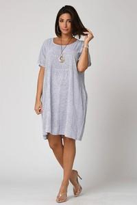 Sukienka Plus Size Fashion bombka z krótkim rękawem z okrągłym dekoltem