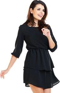 Czarna sukienka Awama mini z okrągłym dekoltem