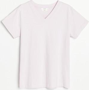 T-shirt Reserved w stylu casual z dekoltem w kształcie litery v