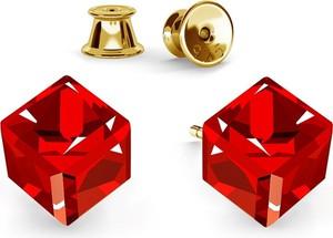 GIORRE SREBRNE KOLCZYKI KOSTKI SWAROVSKI 925 : Kolor kryształu SWAROVSKI - Siam, Kolor pokrycia srebra - Pokrycie Żółtym 24K Złotem