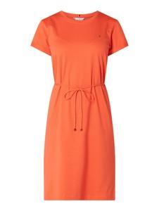 Pomarańczowa sukienka Tommy Hilfiger z krótkim rękawem z bawełny