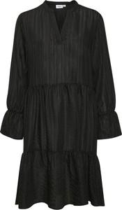 Czarna sukienka Saint Tropez z długim rękawem mini