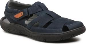 Granatowe buty letnie męskie Lasocki For Men ze skóry