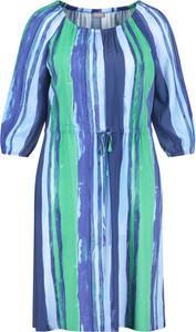 Niebieska sukienka Samoon z długim rękawem z okrągłym dekoltem