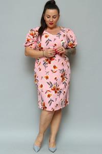Sukienka KARKO ołówkowa z krótkim rękawem z okrągłym dekoltem