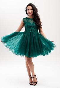 Sukienka Butik Ecru z tkaniny z okrągłym dekoltem bez rękawów