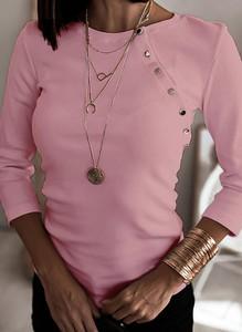 Różowa bluzka Cikelly w stylu casual z okrągłym dekoltem