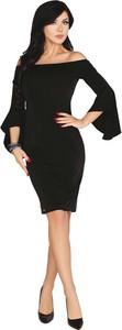 Czarna sukienka MERRIBEL ołówkowa hiszpanka z długim rękawem