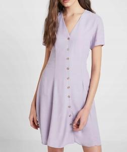 Fioletowa sukienka New Look w stylu casual z krótkim rękawem koszulowa