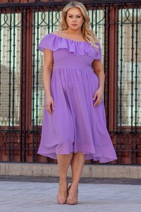 Sukienka KARKO hiszpanka z krótkim rękawem dla puszystych
