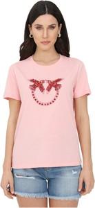 Różowy t-shirt Pinko z okrągłym dekoltem z krótkim rękawem