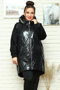 Czarna kurtka KARKO długa z tkaniny