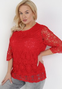 Czerwona bluzka born2be z krótkim rękawem z okrągłym dekoltem