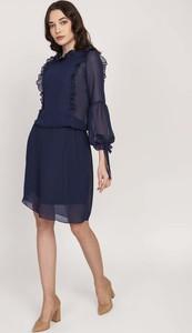 Niebieska sukienka Lanti mini z długim rękawem