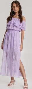 Fioletowa sukienka Renee z krótkim rękawem