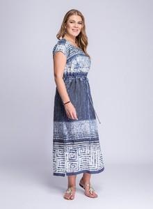 Niebieska sukienka La Venne z lnu z okrągłym dekoltem midi
