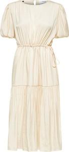 Sukienka Selected Femme z okrągłym dekoltem z krótkim rękawem