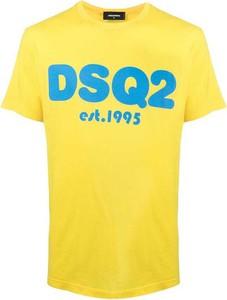 Żółty t-shirt Dsquared2 z bawełny w młodzieżowym stylu