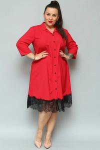Czerwona sukienka KARKO z długim rękawem z tkaniny koszulowa