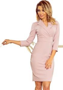 Różowa sukienka NUMOCO z dekoltem w kształcie litery v z długim rękawem