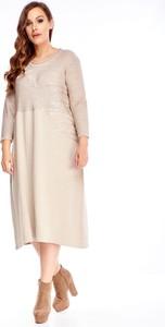 Sukienka N/A z okrągłym dekoltem midi z długim rękawem