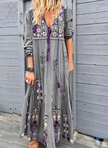 Sukienka Cikelly z dekoltem w kształcie litery v z długim rękawem maxi