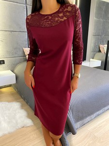 Czerwona sukienka ModnaKiecka.pl z długim rękawem mini