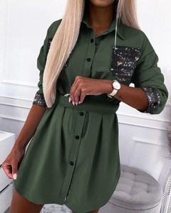 Zielona sukienka Kendallme mini z kołnierzykiem w stylu casual