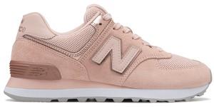 Różowe buty sportowe New Balance z płaską podeszwą z zamszu sznurowane