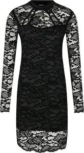 Sukienka Guess Jeans z okrągłym dekoltem z długim rękawem dopasowana