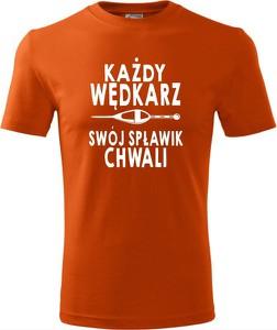 Pomarańczowy t-shirt TopKoszulki.pl w młodzieżowym stylu z bawełny