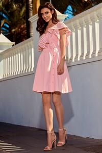 Różowa sukienka TAGLESS rozkloszowana z asymetrycznym dekoltem mini