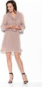 Sukienka Lemoniade z żabotem mini z jedwabiu