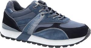 Niebieskie buty sportowe Napapijri ze skóry sznurowane