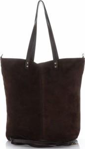 Torebki skórzane typu shopperbag firmy vera pelle czekoladowe