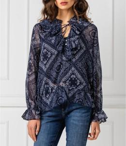 Granatowa bluzka Pepe Jeans z dekoltem w kształcie litery v z długim rękawem w stylu casual