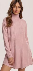 Różowa tunika Renee w stylu casual z długim rękawem