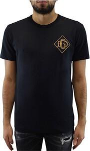 Czarny t-shirt Dolce & Gabbana z krótkim rękawem z bawełny