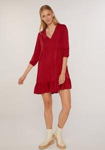 Czerwona sukienka FEMESTAGE Eva Minge mini z dekoltem w kształcie litery v