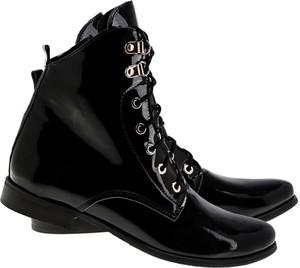 Czarne botki Lafemmeshoes w stylu casual na zamek ze skóry