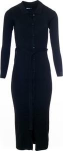 Czarna sukienka Big Star z kołnierzykiem w stylu casual z długim rękawem