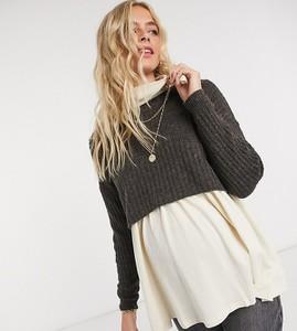 Pieces Maternity – Ciemnoszary krótki sweter z węzłem na plecach – Ciemnoszary-Brązowy