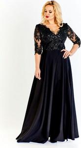 Granatowa sukienka Bosca Fashion z tkaniny w stylu glamour z dekoltem w kształcie litery v