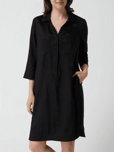 Czarna sukienka S.Oliver Black Label mini z długim rękawem z dekoltem w kształcie litery v