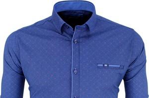 Niebieska koszula Kentazo z długim rękawem z klasycznym kołnierzykiem