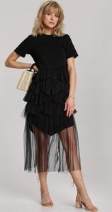 Sukienka Renee z okrągłym dekoltem midi rozkloszowana