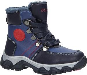 Granatowe buty dziecięce zimowe Casu sznurowane